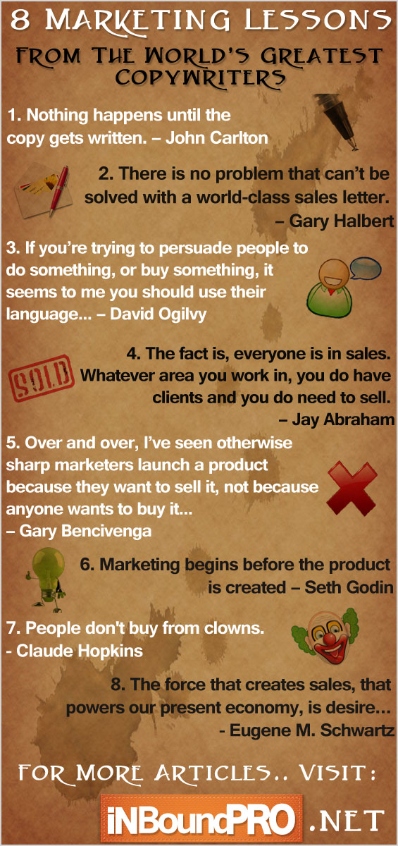 8 Marketing Lessons From The World's Greatest Copywriters - Infographic
