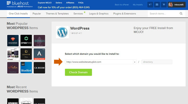 Choose Domain to Install WordPress